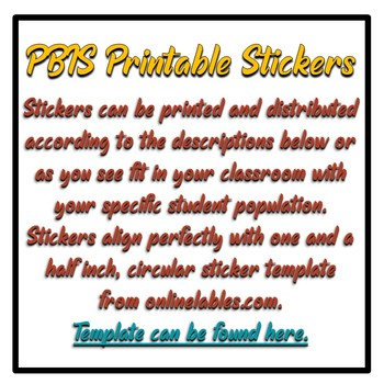 Art Based PBIS (positive behavioral intervention strategies) Printable Stickers