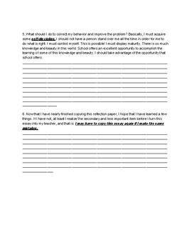 Art Behavior Reflection Writing Assignment