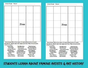 Art Bingo Game Famous Artists Art History Game Sub Lesson Visual Art Education