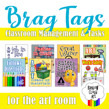Art Brag Tags, Set I: Classroom Management & Tasks, PDF