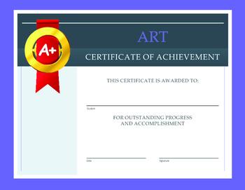 Art Certificate of Achievement