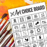 Art Choice Board for Distance Learning, Homework, or Indep