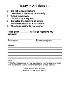Art Class Behavior Form