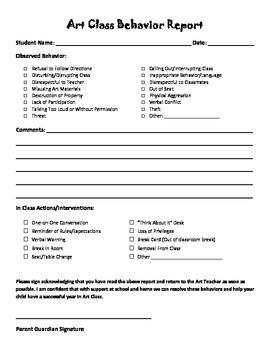Art Class Behavior Report