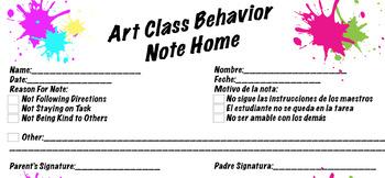 Art Class Behavior Sheet