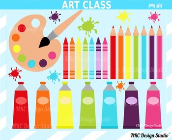 Art class supplies clipart commercial use