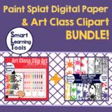 Art Class Clipart & Paint Splat Digital Paper Bundle