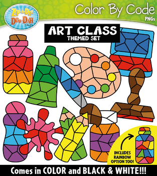 Art Class Color By Code Shapes Clipart {Zip-A-Dee-Doo-Dah Designs}
