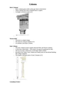 Art Class Columns Teacher Notes