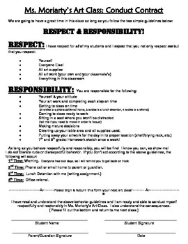 Art Class Conduct Contract