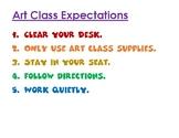 Art Class Expectations Poster for Art on a Cart