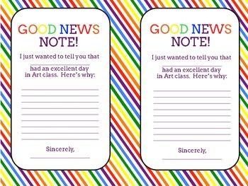"Art Class Positive Behavior Notes to Parents -  ""Good News Notes"""