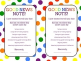 "Art Class Positive Behavior Notes to Parents -  ""Good News Notes"""