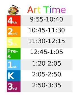 Art Class Schedule