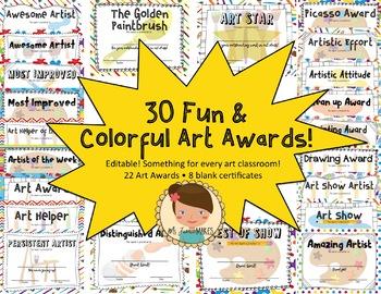 Art Class Student Awards *EDITABLE* & *CUSTOMIZABLE!*