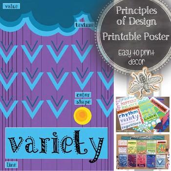 Art Classroom Decor: Principle of Design, Variety, Printable Poster