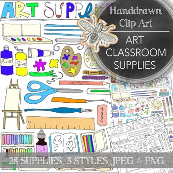 Art Classroom Clip Art: Hand Drawn Images of Art Classroom Supplies