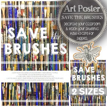 Visual Art Classroom Decoration: Save the Brushes Poster, Caring for Supplies