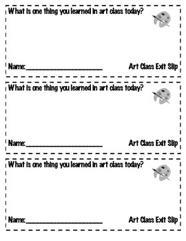 Art Classroom Exit Reflection Sheets