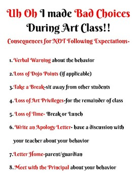 Art Classroom Expectations, Consequences, Completing Artwork Posters