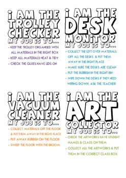 Art Classroom Job Tags for Students.  Tidy clean up.