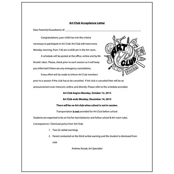 Art Club Acceptance Letter  - Visual Arts Club Elementary Arts Forms