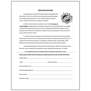 Art Club After School Permission Form - Visual Arts Club Elementary Arts Forms