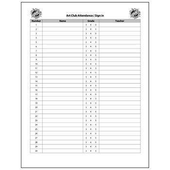 Art Club Attendance Form - Visual Arts Club Elementary Arts Forms