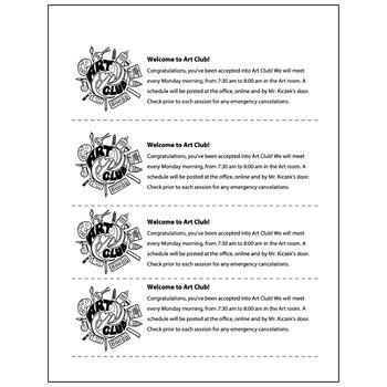 Art Club Congratualtions - Visual Arts Club Elementary Arts Forms