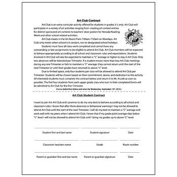 Art Club Student Contract - Visual Arts Club Elementary Arts Forms