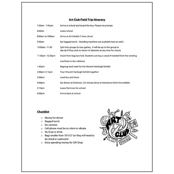 Art Club Field Trip Itinerary - Visual Arts Club Elementary Arts Forms