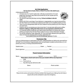 Art Club Information Sheet Application - Visual Arts Club Elementary Arts Forms