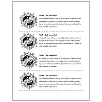 Art Club Is Full Handout  - Visual Arts Club Elementary Arts Forms