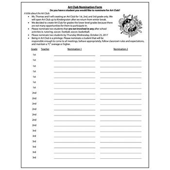 Art Club Nomination Form For Classroom Teachers Visual Arts Club Elementary Arts