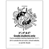 Art Club Poster to hang for door - Visual Arts Club Elementary Arts Forms
