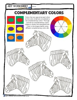 Art Color Theory: Complementary Colors Zebra Worksheet Lesson, Sub plan++++