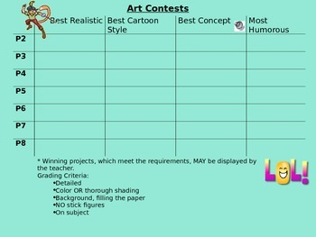 Art Contest - learning styles engagement variety sponge activity visual