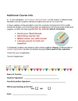 Art - Intro - The First Day - Course Info Sheet