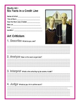 Art Credit Lines & Art Criticism