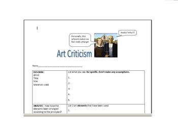 Art Criticism Worksheet