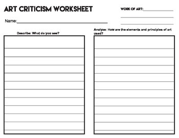 Art Criticism Worksheet By Atomic Tangerine Art Room