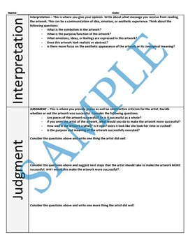 Art Criticism and Critique Worksheet