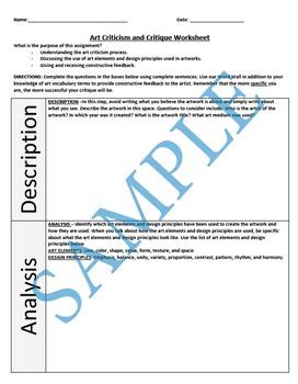 Art Criticism and Critique Worksheet