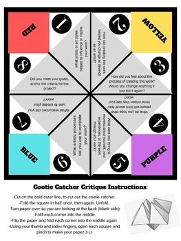 Art Critique 'Cootie Catcher' Aligned with National Standards
