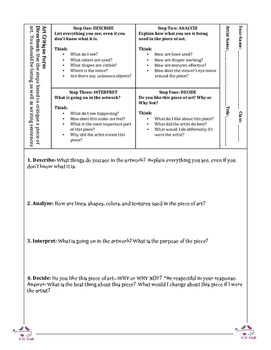 Art Critique Form By Learning Wells