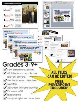 Art Critique Lesson Pack 2...  POWERPOINT with Objectives included!