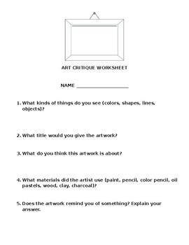Art Critique Worksheet