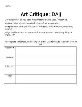 Art Critique Worksheet DAIJ By Art With Ms Sawyer