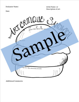 Art Critique Worksheet, Student Art Critique Printable