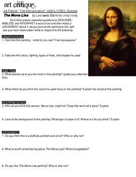 Art Critique Printable: Leonardo's Mona Lisa